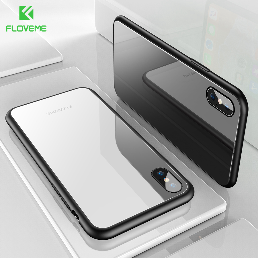 FLOVEME Toughened Glass Case For iPhone X 8 8 Plus 7 7 Plus Case Chic Luxury Shockproof Silicone Soft Frame Hard Back Cover Capa