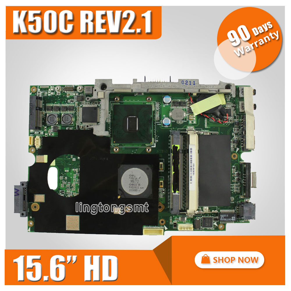 Original For ASUS K40C K50C Laptop Motherboard 15.6 HD REV 2.1 USB2.0 DDR2 VRAM SiS 672+968 Mainboard 100% fully Tested brand new pbl80 la 7441p rev 2 0 mainboard for asus k93sv x93sv x93s laptop motherboard with nvidia gt540m n12p gs a1 video card
