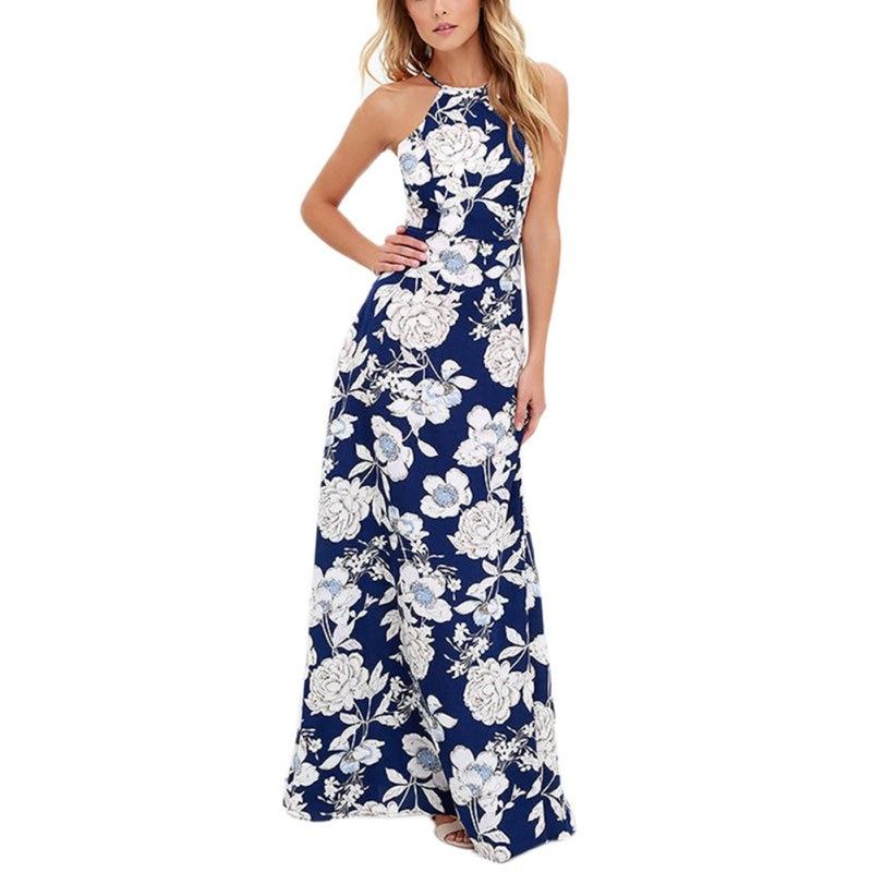 Womens Summer Maxi Dresses New Arrival Ladies Dress Sleeveless Blue Halter Neck Floral Print Vintage Dress