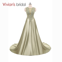 Satin A Line Evening Dress Vivian's Bridal Lace Sequin Champagne Formal Evening Gown Sleeveless Prom Dress Long