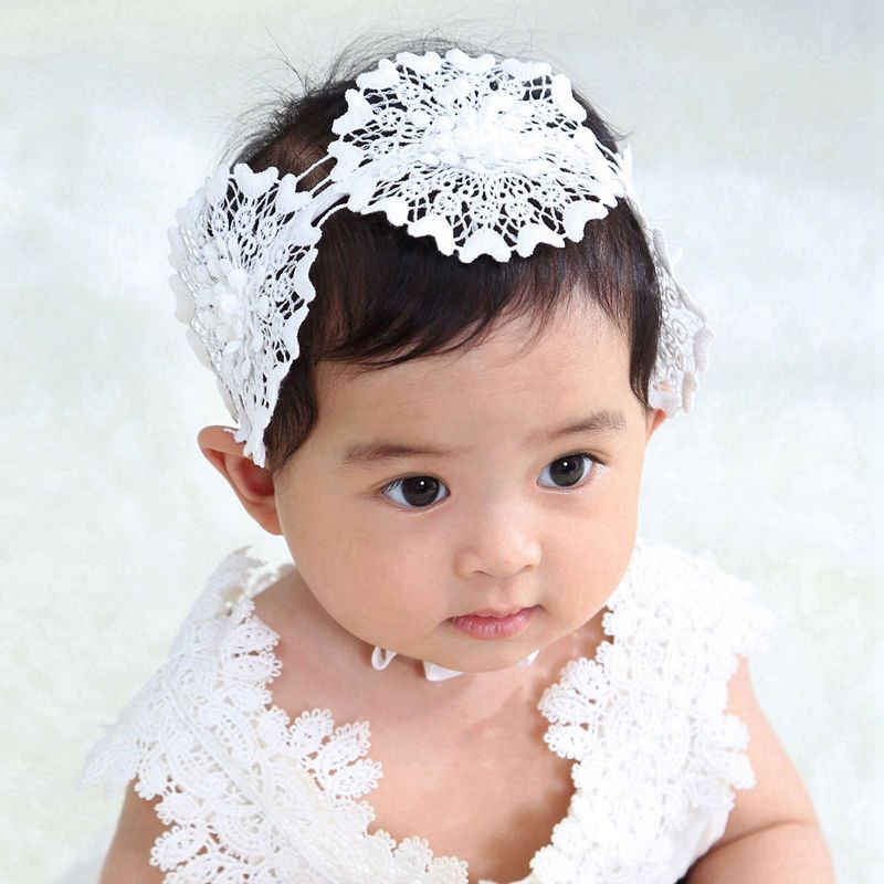 Buy5Get5Free BABY GIRL HEADBAND BAPTISM CHRISTENING SOFT HAIR WRAP FLOWER KNOT