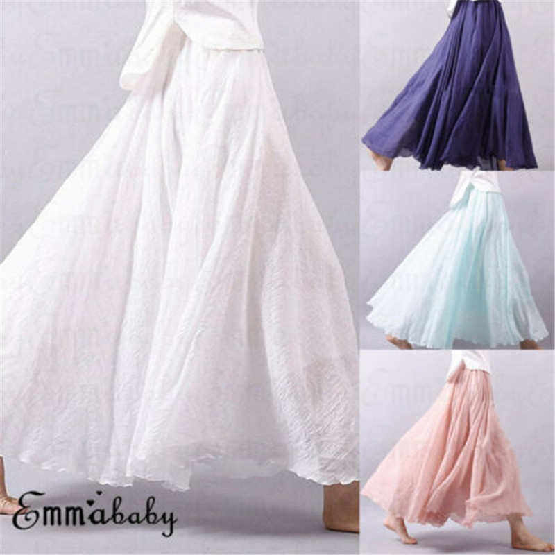 2019 Women Linen Cotton Long Skirts Elastic Waist Pleated Maxi Skirts Beach Boho Vintage Summer Solid Color Long Loose Skirts