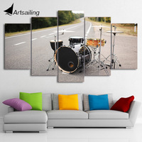 HD Printed 5 Piece Canvas Art Music Drum Painting Street Singing Wall Pictures Framed Modular Painting