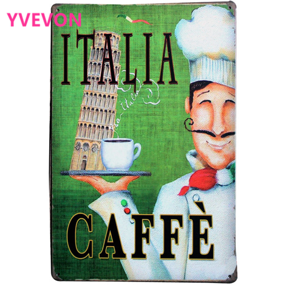 ITALIA CAFEFE Coffee Sign Retro Tin Plaque Metal Plate with Cook chief and Cup for restaurant decoration LJ5-15 20x30cm A1