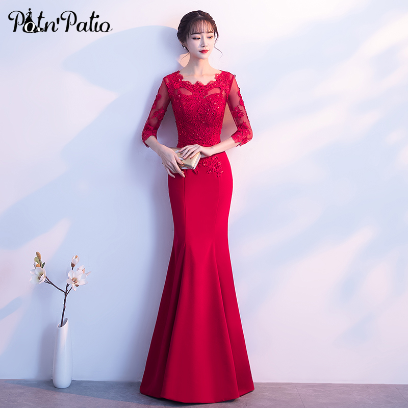 PotN'Patio Wine Red Mermaid   Prom     Dresses   With 3/4 Sleeves O-neck Appliques Crystal Long   Prom     Dresses   2018