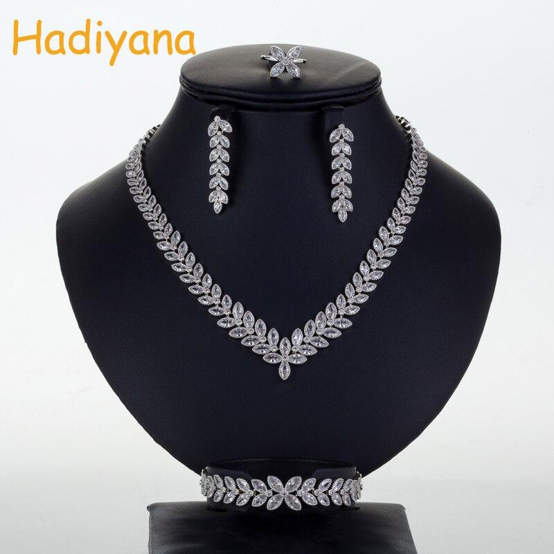 Hadiyana New Mousseux De Mariage Bridals Bijoux Ensemble De Mode Oeil Type Cubique Zircon Cristal 4 pcs Bijoux De Mariée Ensembles Pour WomenCN710