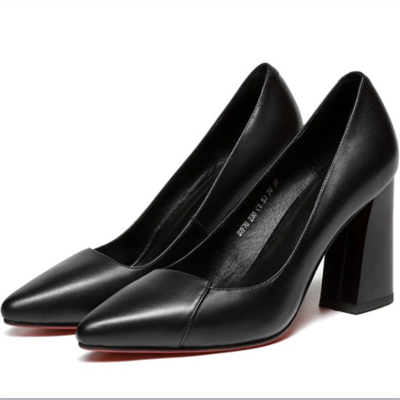 2019 spring and autumn new single shoes thick with high-heeled pointed shallow mouth womens black ljj 04182019 spring and autumn new single shoes thick with high-heeled pointed shallow mouth womens black ljj 0418