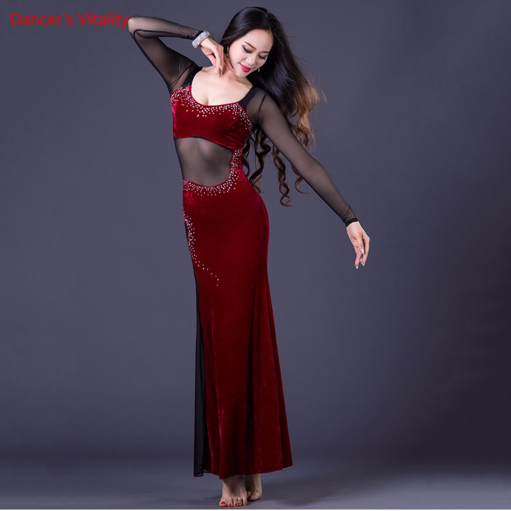 Image 5 - Korea Oriental One Piece Lady's Dance Costume Sexy Long Dress Transparent Mesh Dance Equipment Velvet Purple Black Hot Pink M L-in Belly Dancing from Novelty & Special Use