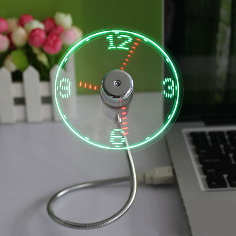 USB Gadget Durable Adjustable Mini Flexible Fan LED Light USB Fan Time Clock Desktop Clock Cool Gadget Time Display lucog mini usb fan with led flashing light gooseneck cool time clock display usb flexible cooling fan for pc laptop notebook