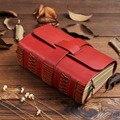 Винтажный толстый красный дневник из натуральной кожи Дневник Блокнот Журнал ручной работы из воловьей кожи креативный подарок на день рож...