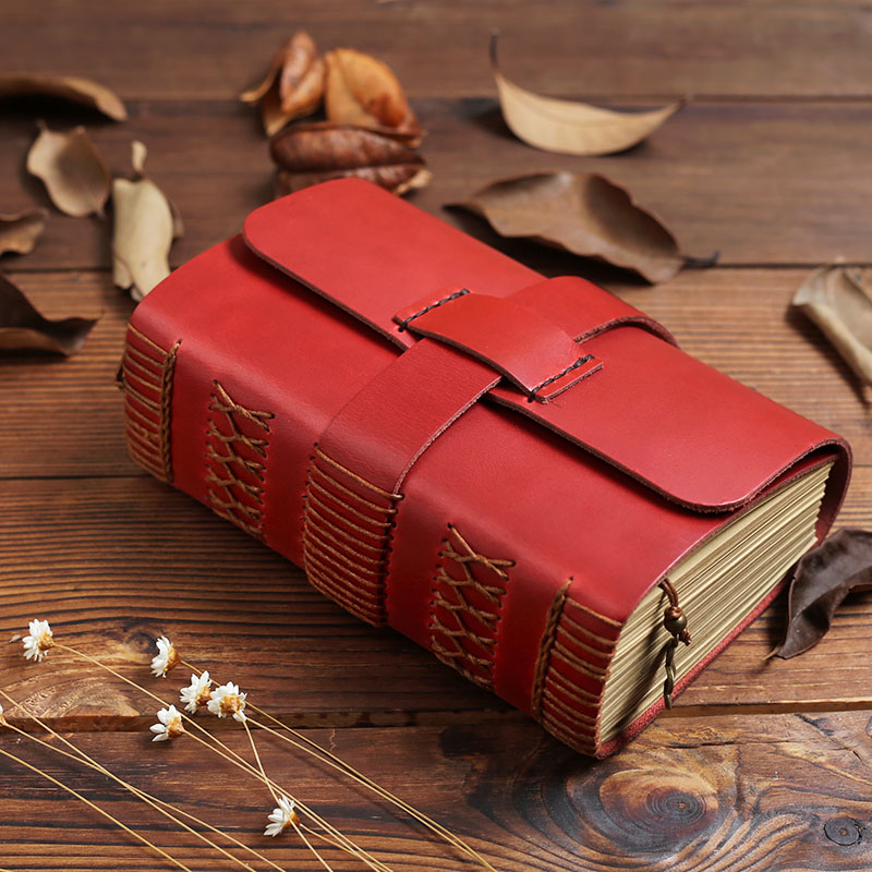 Vintage Thick Red Genuine Leather Diary Notebook Journal Handmade Cowhide Creative Girl Birthday Gift silicone jigsaw pattern cover creative notebook red white green purple