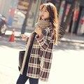 2016 Nova Moda Listrada Casual Brasão Camisola Solta Knitting Longo Cardigan Exteriores Solto Long Coat Cabo Knit Camisolas C175