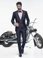 2017 Latest Coat Pant Design Navy Blue Men Suit Italian Suits Slim Fit 3 Piece Gentle Prom Blazer Custom Tuxedo Terno Masculino