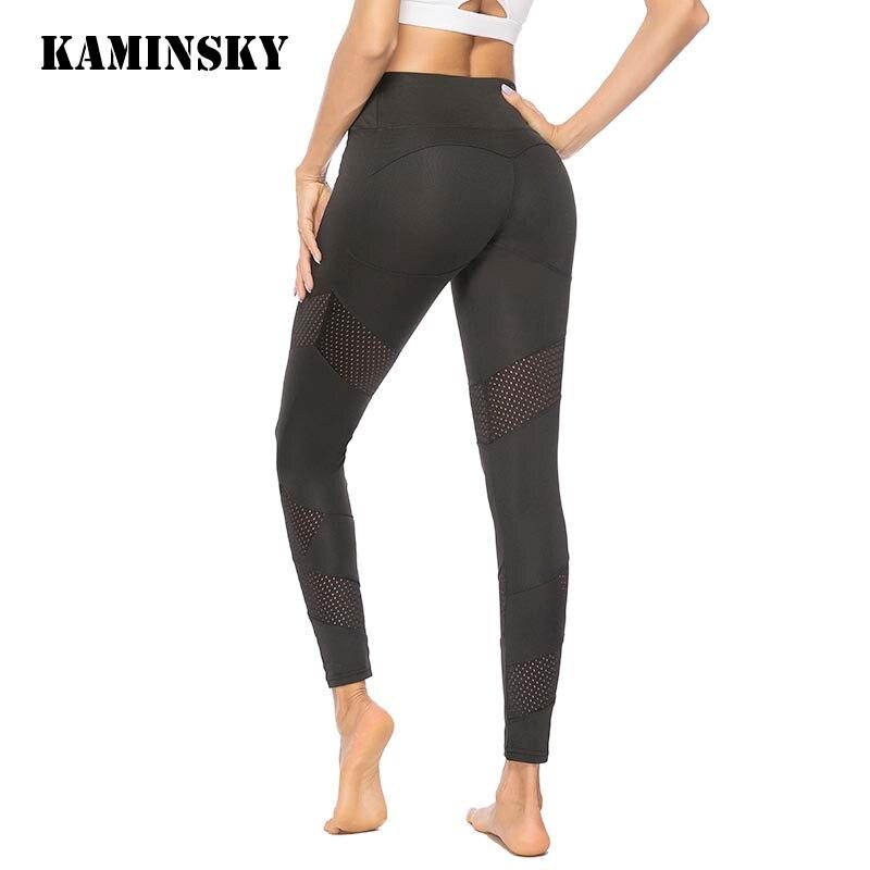 Kaminsky Push Up Leggings Women Gothic Fitness Clothing Workout Mesh High Waist Pants Female Breathable Patchwork Black Leggings