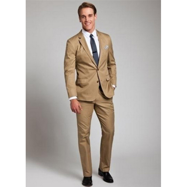 0d9672e347 US $56.27 19% OFF|Mens Casual Bridegroom Fashion Khaki Color suits 2017  Brand Slim Classic Business Party Formal comfortable men Suit With Pants-in  ...