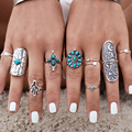 New Bohemia Finger Jewelry Unique Carving Tibetan Silver Ring Set For Woman 9PCS/Set Boho Turquoise Flower Ring Sets