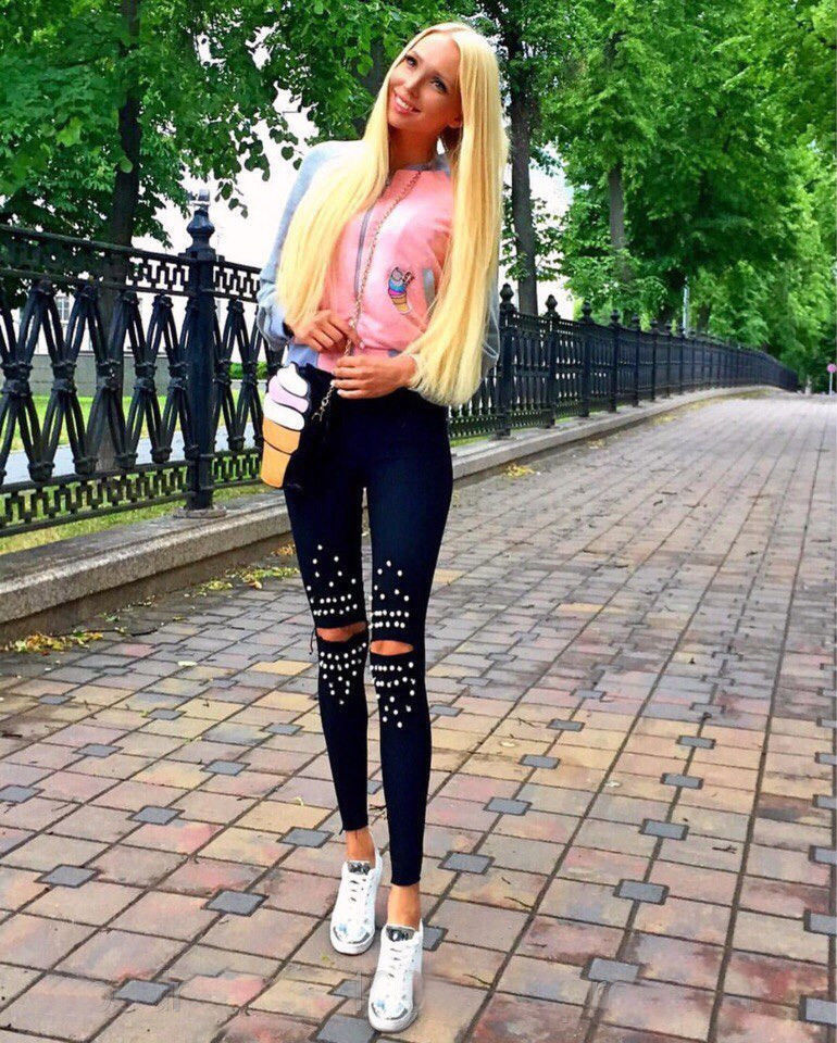 Fashion Women Denim Skinny Ripped Pants High Waist Hole Jeans Slim Sequin Pencil Trousers