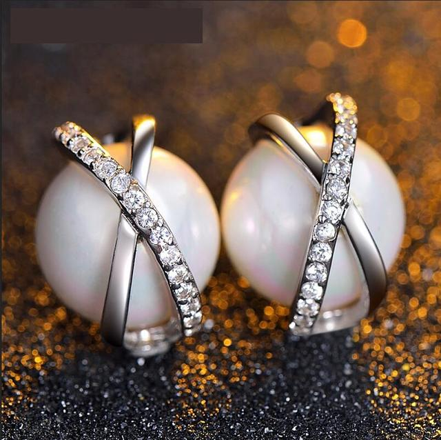 Bonito 2016 nova feminino branco pérola brincos CZ diamante processo de corte perfeito preço com desconto jóias de prata esterlina