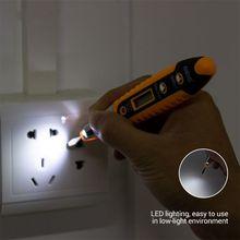 Kontakt Tester Pen 12-250V AC detektory napięcia Tester miernik Volt Current elektryczny ołówek testowy cheap ANENG Elektryczne Cyfrowy tylko 143 x 26 6mm(5 63 x 1 05in) Baterii -10-50 Voltage Detector Yellow