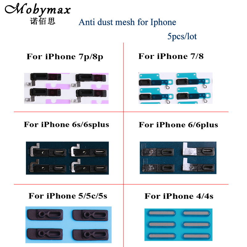 Moybmax 5pcs/lot Anti Dust Proof Grill Mesh Net With Rubber Gasket Adhesive For iPhone 4 4s,5 5s 5c se,6 6p ,6s 6sp ,7 8,7p 8p