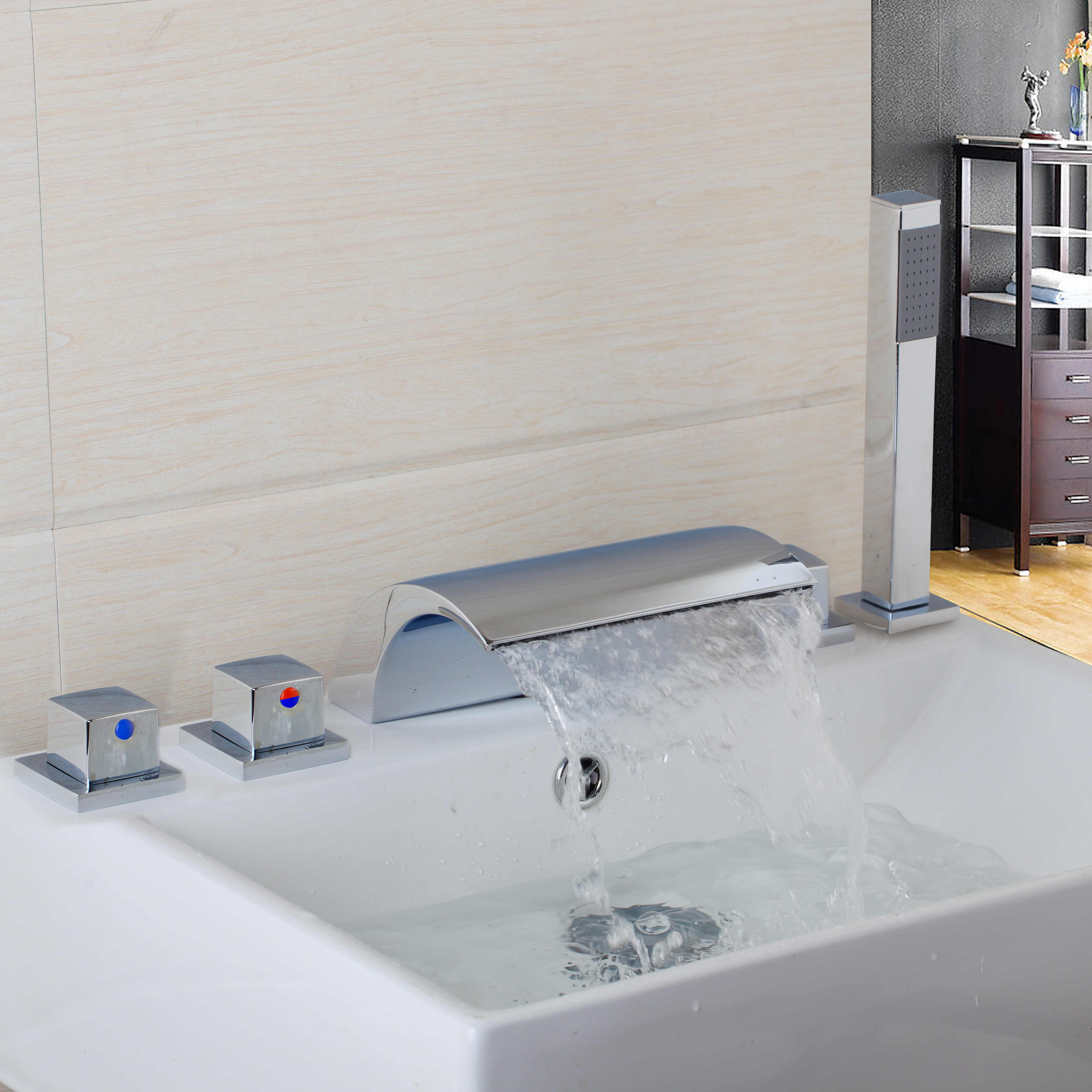YANKSMART 5 Pcs Waterfall Gutter Bathroom Bathtub Faucet Single ...