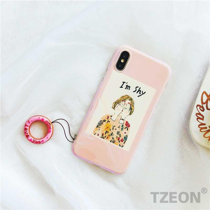 Linda Rosquinha Coração Dedo Telefone Celular Pulseira Passadeira Para IPhone Samsung Huawei Xiaomi OPPO Telefone Alça de Silicone Corda Curta