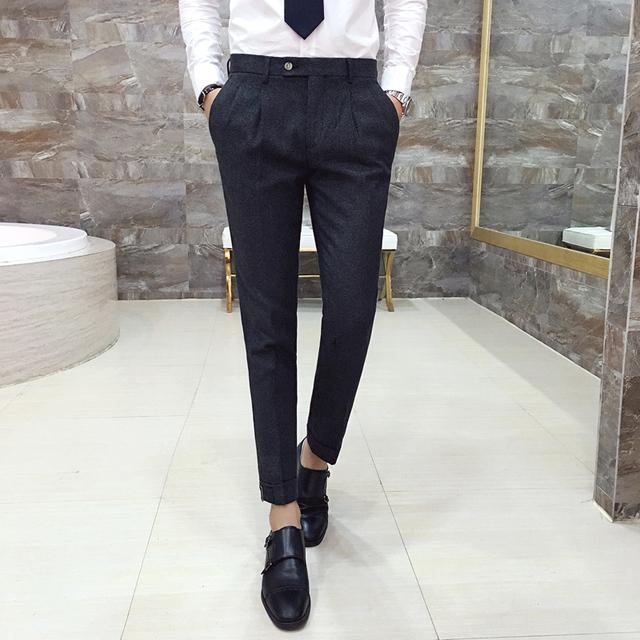 Los hombres pantalones casuales 2017 de otoño de la boda Del Partido vestido de traje casual de negocios pantalones Ajustar la hebilla macho Delgado Medias pantalones K65
