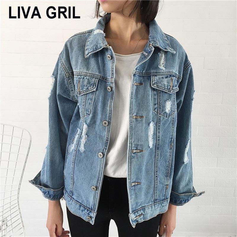 Liva Girl 2018 Women   Basic   Coat Denim   Jacket   Women Winter Denim   Jacket   For Women Jeans   Jacket   Women Denim Coat Loose Fit