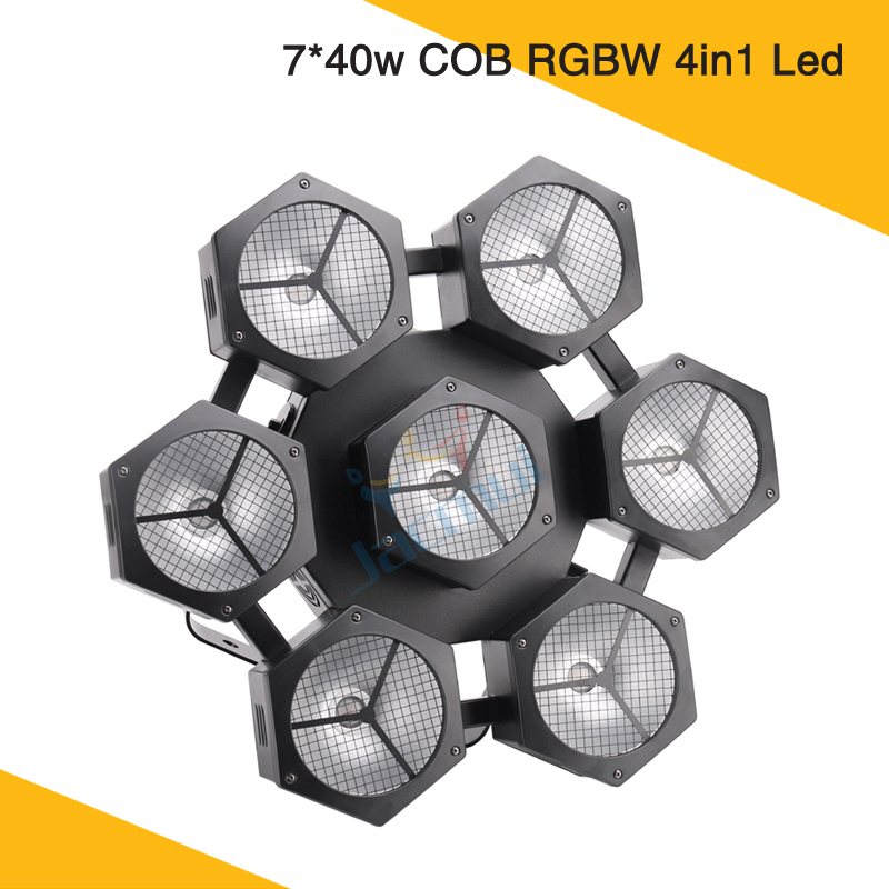 New Style Snow Petal Modeling Wedding Lights 7*40w COB RGBW Led 6 Eyes Wash DJ Stage Lighting
