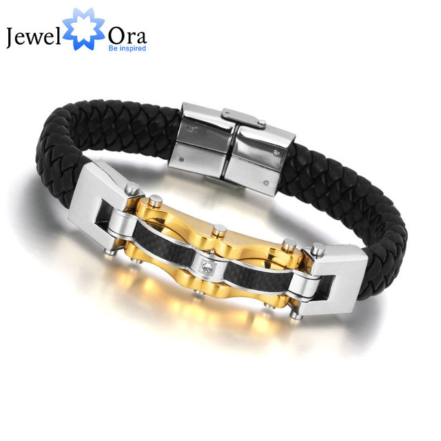Luxury Brand Jewelry Golden Men Bracelet 316L Wrap Stainless Steel Charm Leather Bracelet Gifts for Father (JewelOra BA100810)