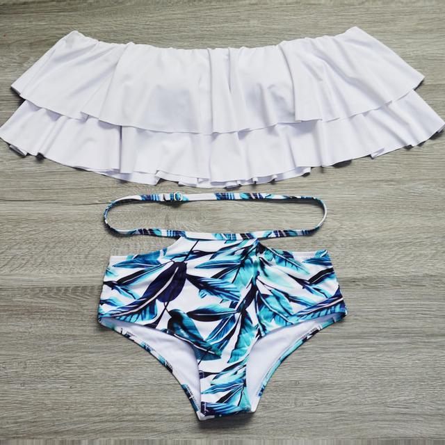 Ruffle Vintage Striped Bikini Set