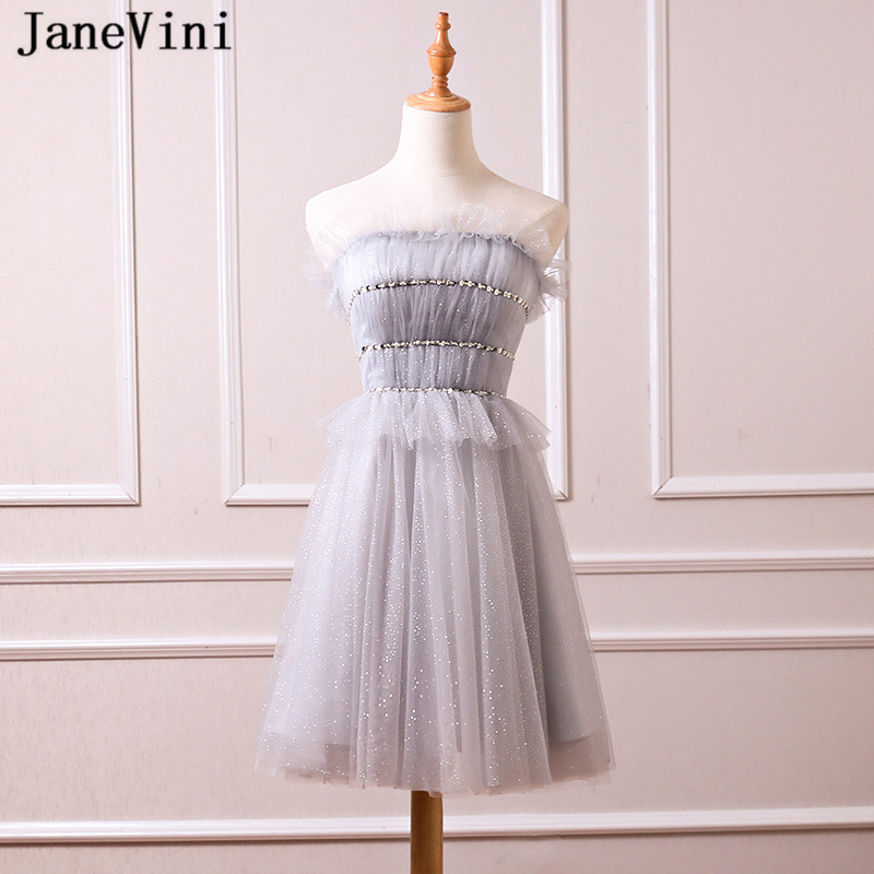 JaneVini Charming Light Gray Sequins Beaded Short   Bridesmaid     Dresses   A Line Strapless Tulle Knee Length Women Formal Prom Gowns