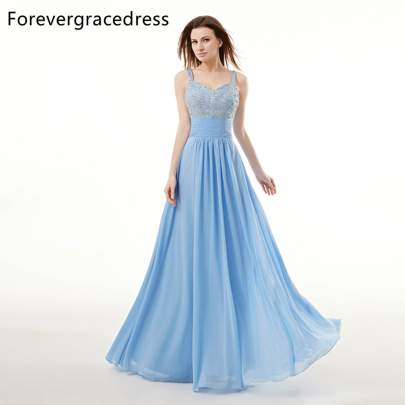 Forevergracedress Real Picture Sky Blue   Prom     Dress   New Style Cheap Beaded Crystals Open Back Long Formal Party Gown Plus Size