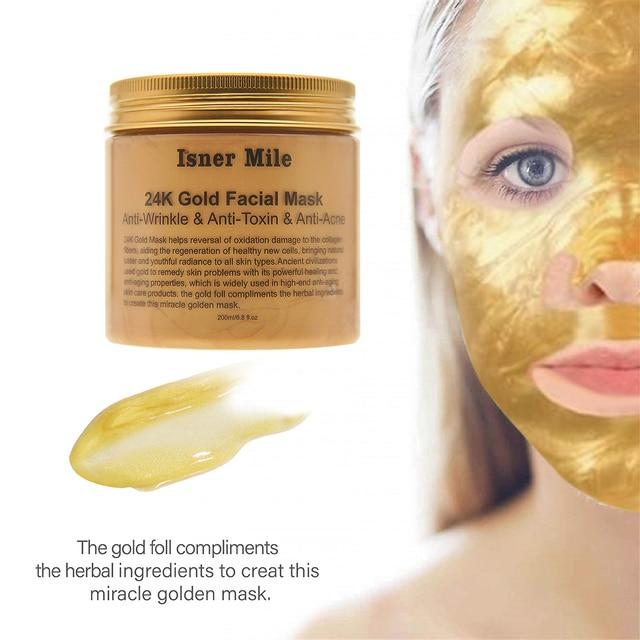 ISNER MILE 24K Gold Face Mask Collagen Facial Mask Mud Moisturizing  Pore Strip Peeling Nose Mask for Skin Cares Washable Mask