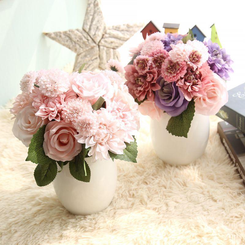 Silke blomma bröllop bukett rosor dahlias Konstgjorda blommor faller - Semester och fester - Foto 2