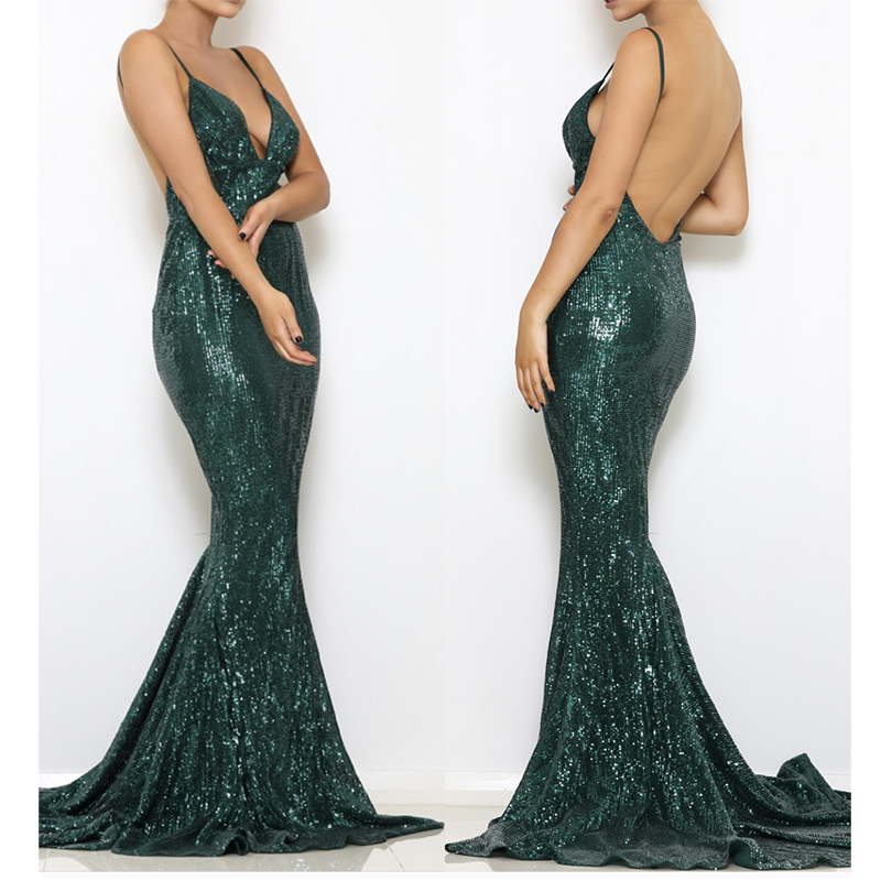 Sexy V Neck Bodycon Green Sequined Floor Length Dress Backless Sleeveless Night Club Dress Padded Open Back Evening Party Dress