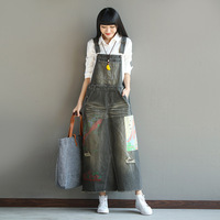 Free shipping 2017 New Fashion Long Maxi Denim Dresses For Women Vintage Jeans Overalls Dresses With Hole 030804