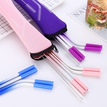 Bent Straws Silicone-Tips Reusable Cold-Beverage Stainless-Steel 4 with for Hot 4pcs/Set