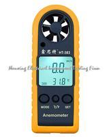 HT-383 Mini LCD Digital Anemômetro Velocidade Do Vento Medidor Tester Medidor de Temperatura Auto off Manual de Medição da Velocidade Do Ar