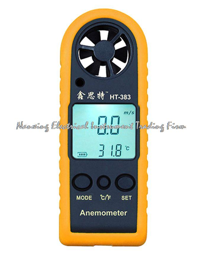 HT-383 Mini LCD Digital Anemometer Wind Speed Meter Tester Air Temperature Gauge Auto Manual off Speed Measuring