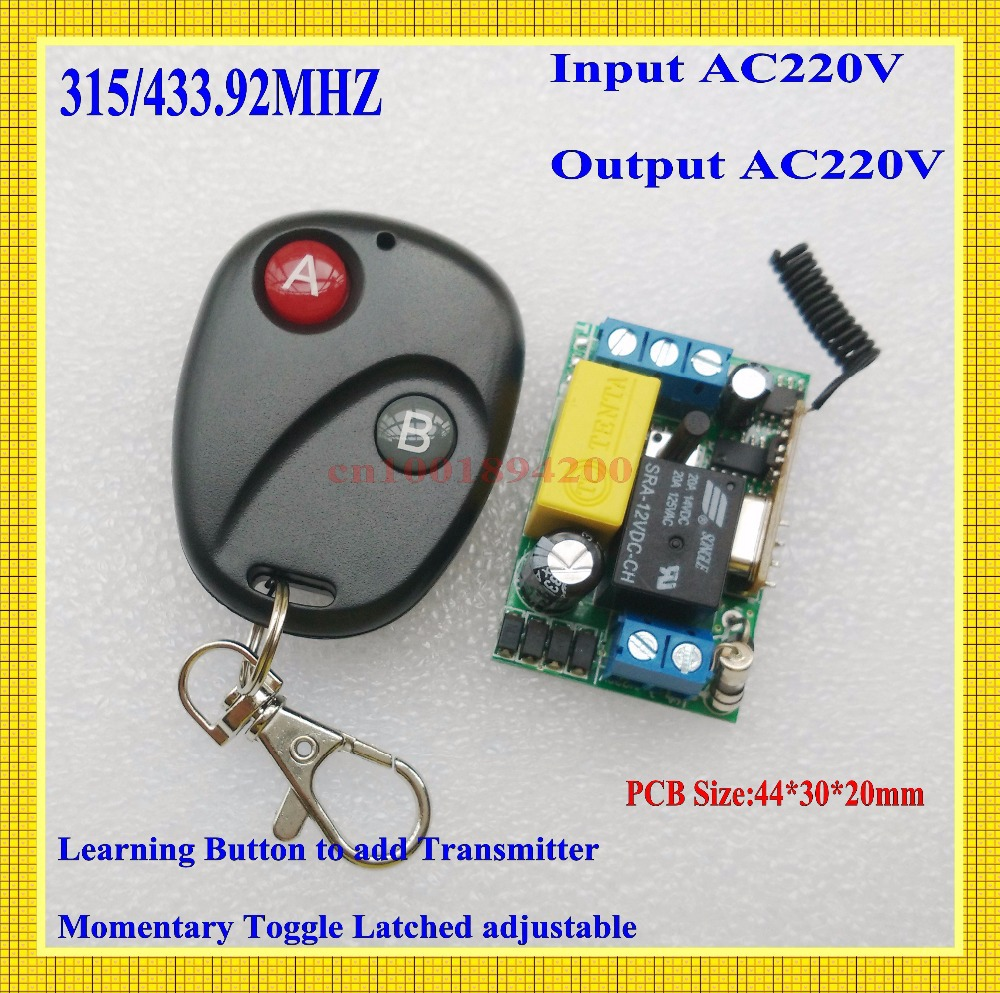 Input AC22V Output AC220V Remote Control Switch 10A Relay High Quality SAFETY CAPACITOR Receiver Transmitter  315/433 Latched 315 433mhz 12v 2ch remote control light on off switch 3transmitter 1receiver momentary toggle latched with relay indicator