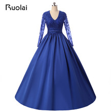 2017 Plus Size Evening Dresses Long Sleeves Applique Beaded Open Back Robe de Soiree Party Gown for Women Dresses PD21