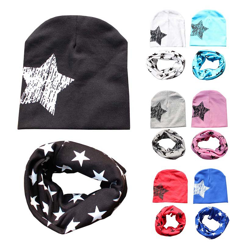 Autumn Winter Hat + Scarf Toddler Kids Spring Clothing Accessories Star Print Soft Cotton Hats Scarves Sets