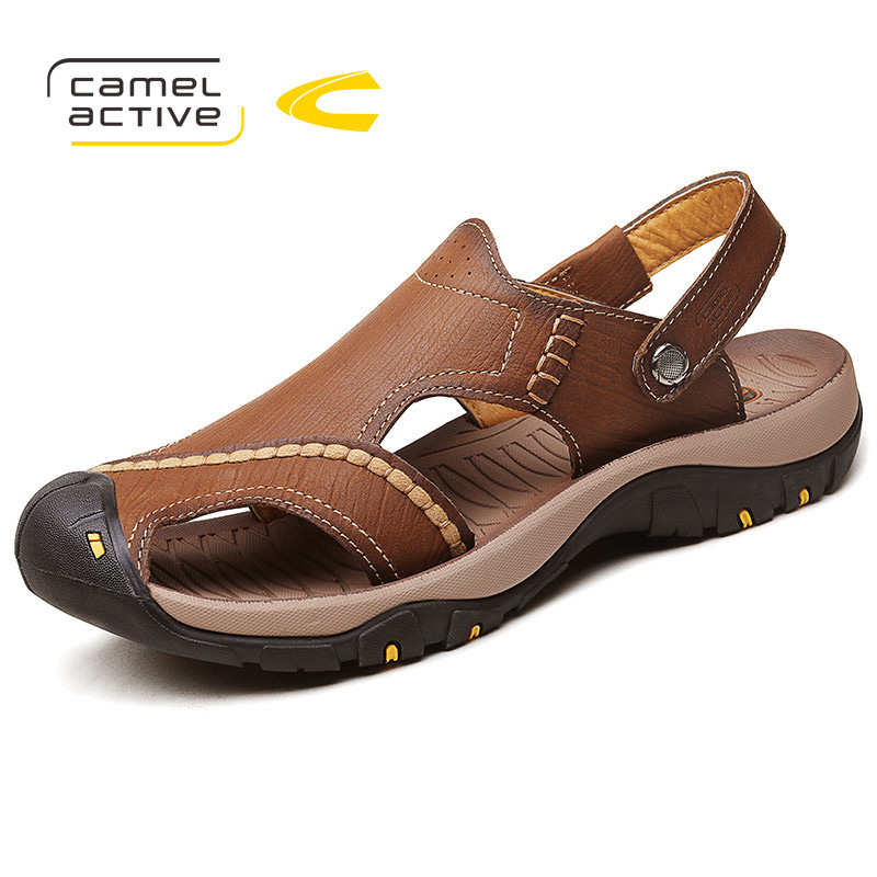 Camel Active 2018 Fashion Quality Genuine Leather Men Sandals Mesh Soft Fisherman Summer Casual Shoes Beach Sandals Mens Shoes