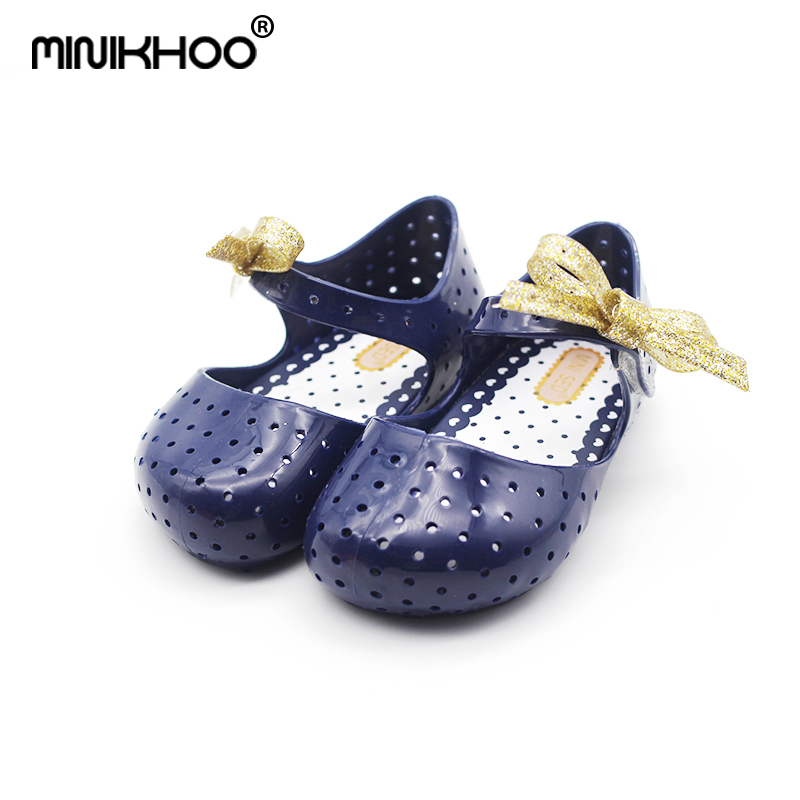 Mini Melissa Summer New Flashing Bowknot Hole Girl Jelly Sandals Breathable Children Beach Sandals 3Color Girl Shoes 14cm-16.5cm