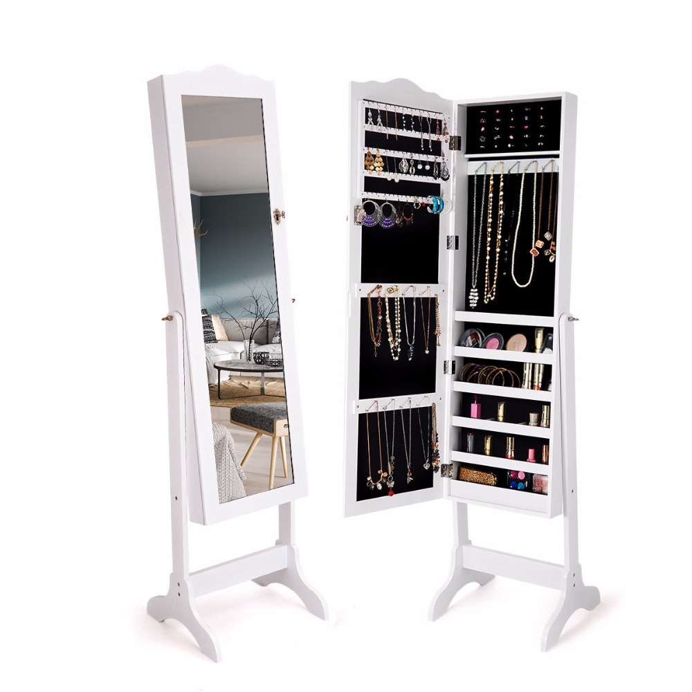 Giantex Mirrored Lockable Jewelry Cabinet Armoire Organizer Storage Box W/ Stand White Home Furniture HW60137WH