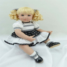 Reborn Silicone dolls 20 inch 50 cm ,Beautiful fashion  lifelike doll reborn babies Blonde hair girl
