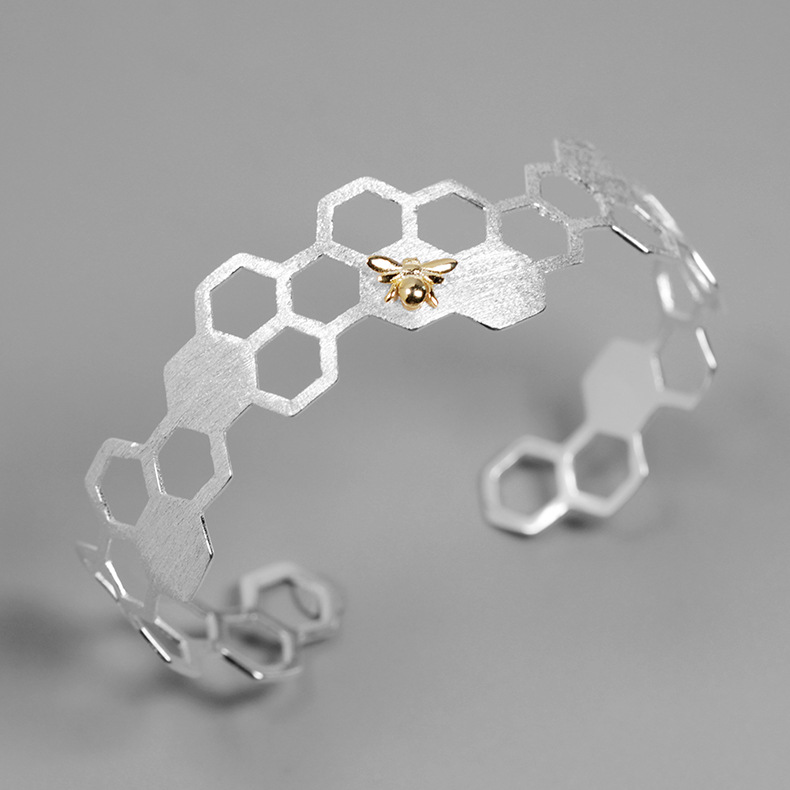 INATURE 925 Sterling Silver Fashion Honeycomb Bee Open Bracelet Women Party Jewelry Gift