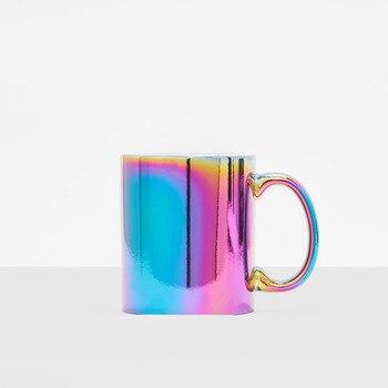 Taza De unicornio con arcoiris iridiscente, Vintage, sirena, galvanoplastia, tazia, Tazas De...