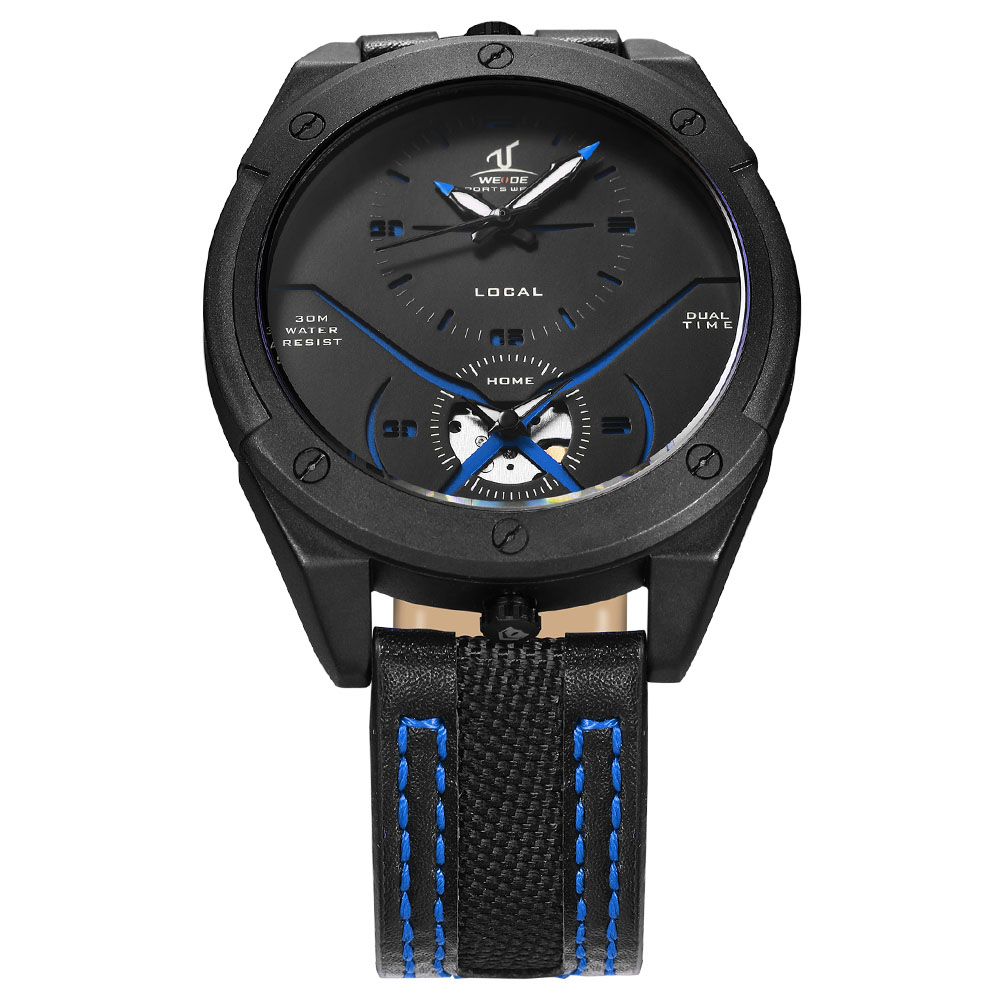 WEIDE Genuine Mens Watches  Brand Luxury Leather Clock Electronic Automatic relogios men's Waterproof watch Analog sport watches weide genuine brand luxury men watch nylon sport digital black quartz relogios masculino watches large discs electronic clock
